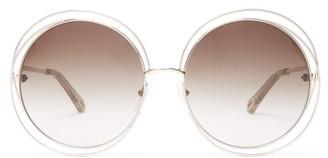 Chloé Carlina Round Frame Sunglasses - Womens - Silver