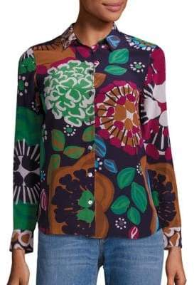 Burberry Aster Flower Printed Silk Blouse