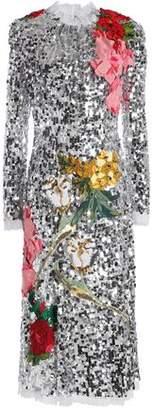 Dolce & Gabbana Appliquéd Sequined Tulle Midi Dress