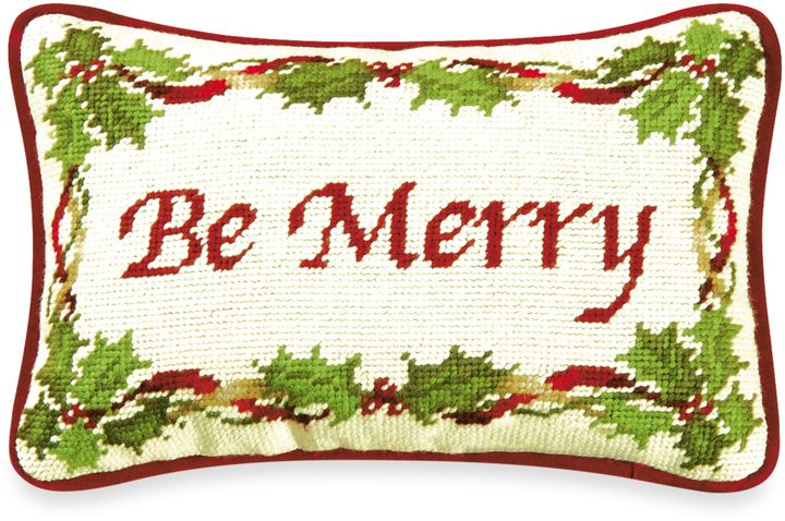 Bed Bath & Beyond Holiday Garden Be Merry Needlepoint Throw Pillow