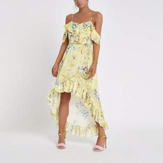 River Island Womens Petite Yellow floral frill front maxi dress