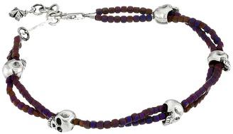 King Baby Studio - Square Hematite Double Strand Bracelet with Skulls Bracelet $235 thestylecure.com