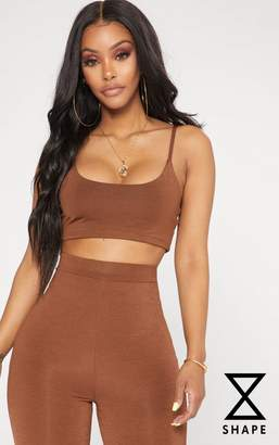PrettyLittleThing Shape Chocolate Brown Strappy Crop Top