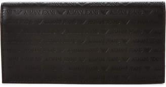 Armani Jeans Black Embossed Logo Leather Pocket Wallet