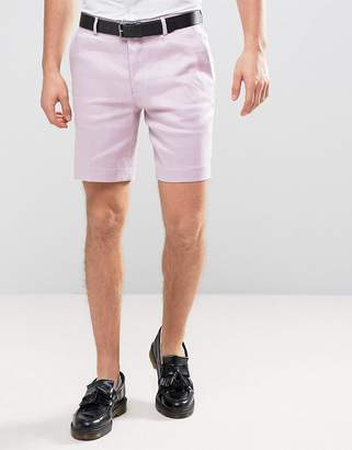 Asos DESIGN Slim Smart Short In Light Purple Linen Mix