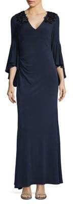 Calvin Klein Embellished Shoulder Bell Sleeve Gown