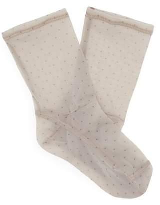 Darner Socks - Polka Dot Print Mesh Ankle Socks - Womens - Nude Print