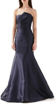 ML Monique Lhuillier Strapless Mermaid Evening Gown