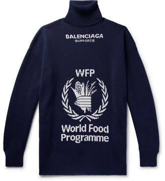 Balenciaga The World Food Programme Oversized Logo-Intarsia Virgin Wool Rollneck Sweater - Men - Storm blue