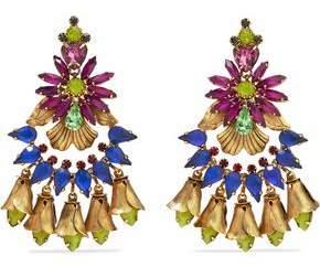 Elizabeth Cole 24-Karat Gold-Plated Swarovski Crystal And Stone Earrings