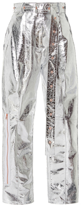 Proenza Schouler Metallic Leather Belted Pant