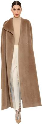 DELPOZO Brushed Alpaca & Wool Long Coat