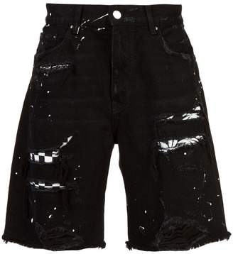 Amiri layered ripped denim shorts