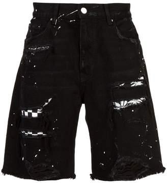 Amiri layered ripped denim shorts