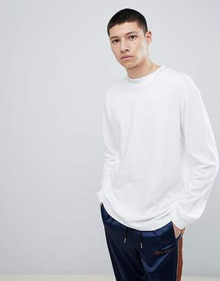 Mennace Oversized Long Sleeve T-Shirt In White