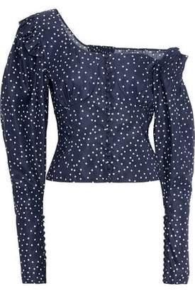 Magda Butrym Vannes Off-the-shoulder Polka Dot Linen-blend Top