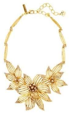 Oscar de la Renta Swarovski Crystal Point Flower Statement Necklace