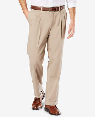 Dockers Men Easy Comfort Relaxed-Fit Performance Stretch Wrinkle-Resistant Pleated Khaki Pants