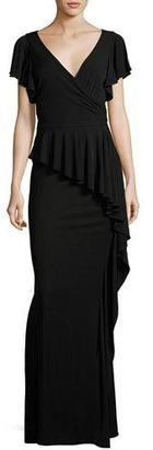 Rickie Freeman for Teri Jon Short-Sleeve Draped Peplum Jersey Gown, Black $595 thestylecure.com