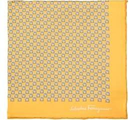 Salvatore Ferragamo Men's Gancio-Print Silk Twill Pocket Square-Yellow