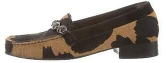 Stuart Weitzman Ponyhair Cow Print Loafers