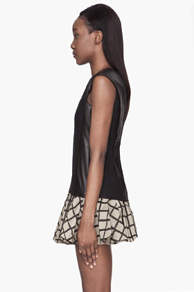 Rag and Bone RAG & BONE Black leather silk Lorie Blouse
