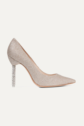 Sophia Webster Coco Crystal-embellished Glittered Leather Pumps - Gold