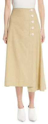 Robert Rodriguez Flare Linen Midi Skirt