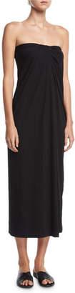 Rosetta Getty Strapless Twist-Front Midi Dress