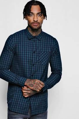 boohoo Navy Long Sleeve Regular Fit Check Shirt