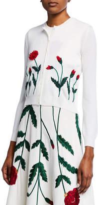 Oscar de la Renta Poppy-Embroidered Cropped Cardigan