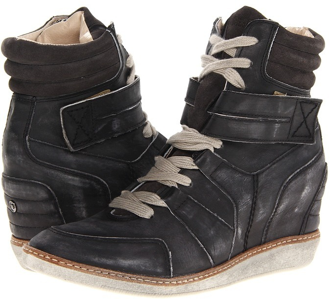 Diesel Turn Around Carabas Wedge Sneaker (Soft Black Leather) - Footwear