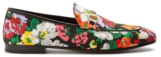 Gucci Jordaan Floral Print Satin Loafers - Womens - Multi