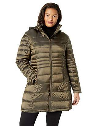 Celsius Women's Plus-Size Lightweight Long Quilted Wellon Jacket with Removable Hood Outerwear