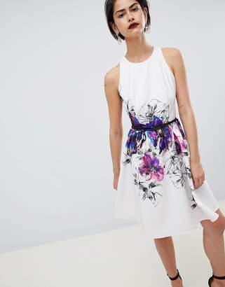 Little Mistress Floral Placement Print Prom Dress