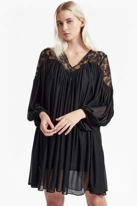 French Connection Lassia Lace Jersey Tie Neck Dress