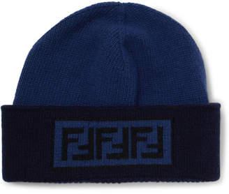 Fendi Logo-Intarsia Wool And Cashmere-Blend Beanie