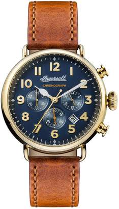 Ingersoll WATCHES Trenton Chronograph Leather Strap Watch, 44mm
