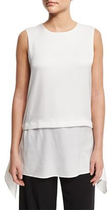 DKNY Sleeveless Layered Silk-Blend Top, White $255 thestylecure.com