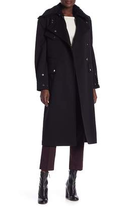 Helmut Lang Utilitarian Wool Coat with Faux Fur Vest