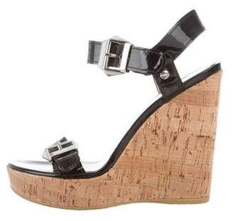 Stuart Weitzman Buckle Wedge Sandals