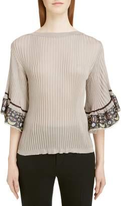 Chloé Flutter Sleeve Ribbed Top