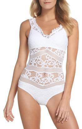 Becca Color Play Crochet One-Piece Swimsuit