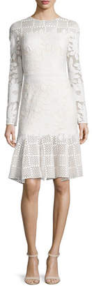Tadashi Shoji Long-Sleeve Mixed-Media Dress