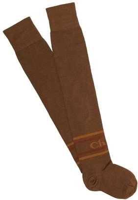 Chloé Logo Intarsia Knit Cotton Over The Knee Socks - Womens - Brown