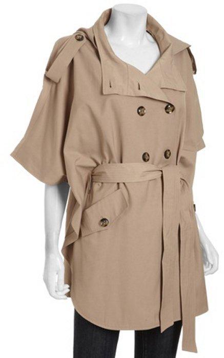 DKNY khaki cotton blend 'Mary' cape raincoat