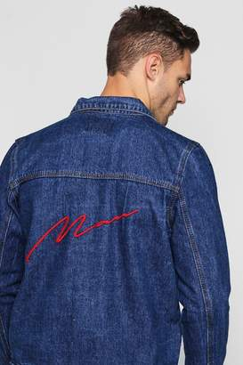 boohoo MAN Embroidery Denim Jacket
