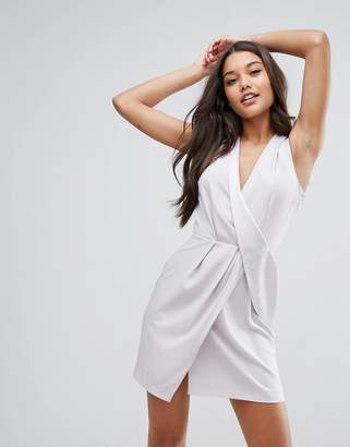 Asos Design Drape Front Mini Tux Dress