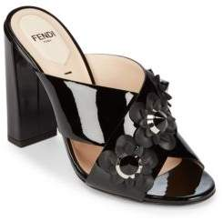 Fendi Floral Accented Leather Block Heel Sandals