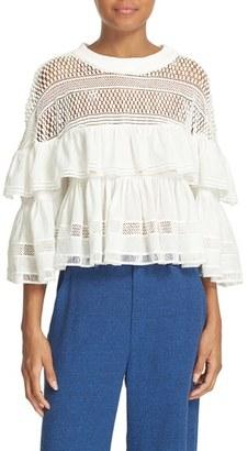 Women's Sea Baja Lace Ruffled Top $345 thestylecure.com